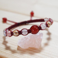 【手作りキット】天然石編みブレスレット(健康のお守り)