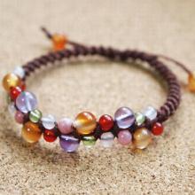 【手作りキット】天然石編みブレス (カーネリアン/アメジスト/ペリドット