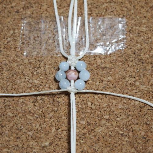 お花編みブレスレット ろうびき紐 編み方