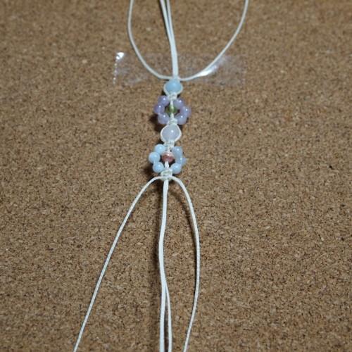 お花編みブレスレット 編み方 平編み