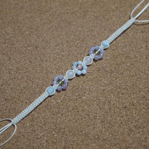 お花編みブレスレット 編み方 ロウビキ紐